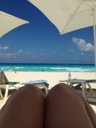 Lounging on the beach in the am
